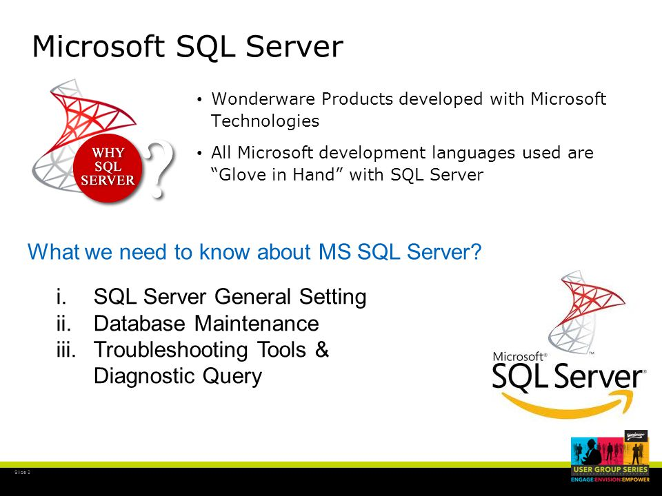 Slide 3 Microsoft SQL Server Wonderware Products developed with Microsoft Technologies All Microsoft development languages used are Glove in Hand with SQL Server What we need to know about MS SQL Server.