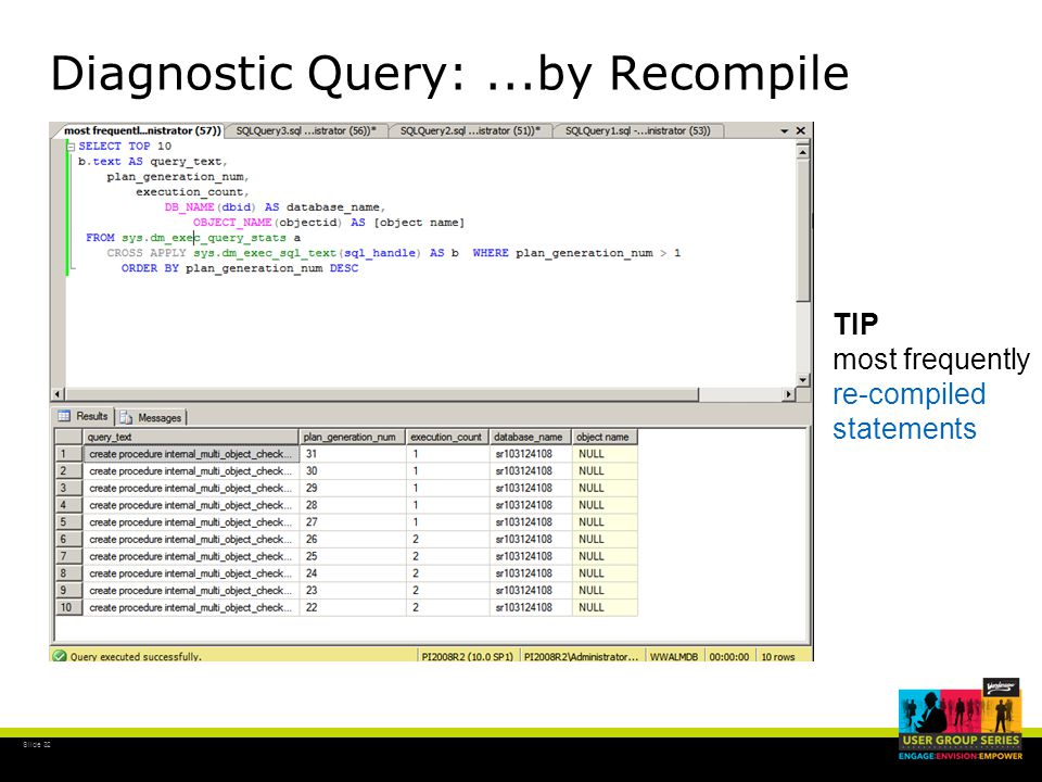 Slide 32 Diagnostic Query:...by Recompile TIP most frequently re-compiled statements