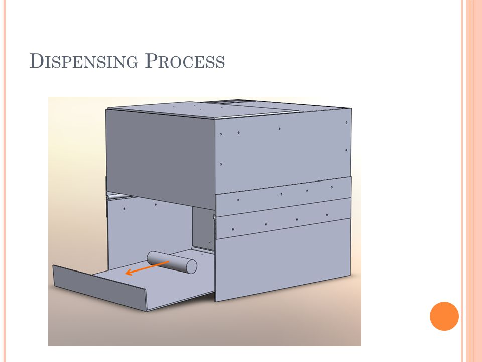 R EFILLING P ROCESS Retrieve empty dispenser from user At pharmacy, unload all empty medicine cylinders from the return slot Turn the dispenser over, release legs and flip up ramp to expose nitinol latch assembly.