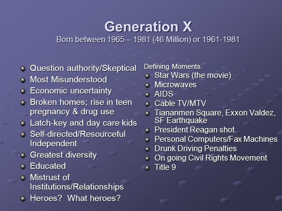 Generation X Born between 1965 – 1981 (46 Million) or 1961-1981 Question authority/Skeptical Most Misunderstood Economic uncertainty Broken homes; rise in teen pregnancy & drug use Latch-key and day care kids Self-directed/Resourceful Independent Greatest diversity Educated Mistrust of Institutions/Relationships Heroes.