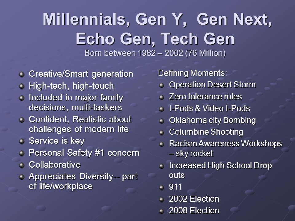 Millennials, Gen Y, Gen Next, Echo Gen, Tech Gen Born between 1982 – 2002 (76 Million) Millennials, Gen Y, Gen Next, Echo Gen, Tech Gen Born between 1982 – 2002 (76 Million) Creative/Smart generation High-tech, high-touch Included in major family decisions, multi-taskers Confident, Realistic about challenges of modern life Service is key Personal Safety #1 concern Collaborative Appreciates Diversity-- part of life/workplace Defining Moments: Operation Desert Storm Zero tolerance rules I-Pods & Video I-Pods Oklahoma city Bombing Columbine Shooting Racism Awareness Workshops – sky rocket Increased High School Drop outs 911 2002 Election 2008 Election