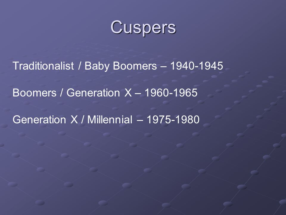 Cuspers Traditionalist / Baby Boomers – 1940-1945 Boomers / Generation X – 1960-1965 Generation X / Millennial – 1975-1980