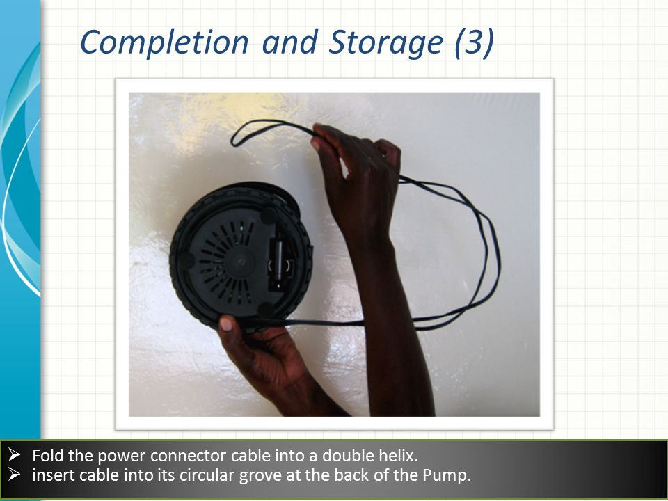  Fold the power connector cable into a double helix.