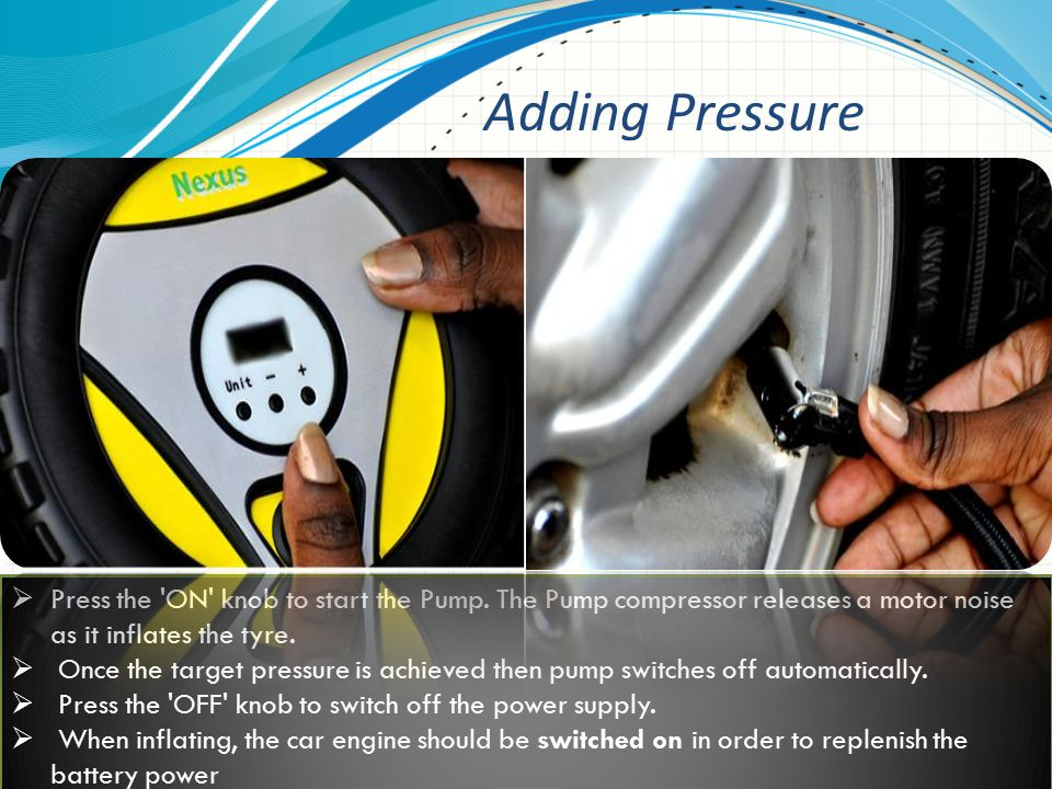  Press the hose connector onto the tyre valve stem to release air.
