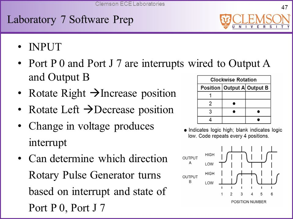 47 Clemson ECE Laboratories Laboratory 7 Software Prep INPUT Port P 0 and Port J 7 are interrupts wired to Output A and Output B Rotate Right  Increa