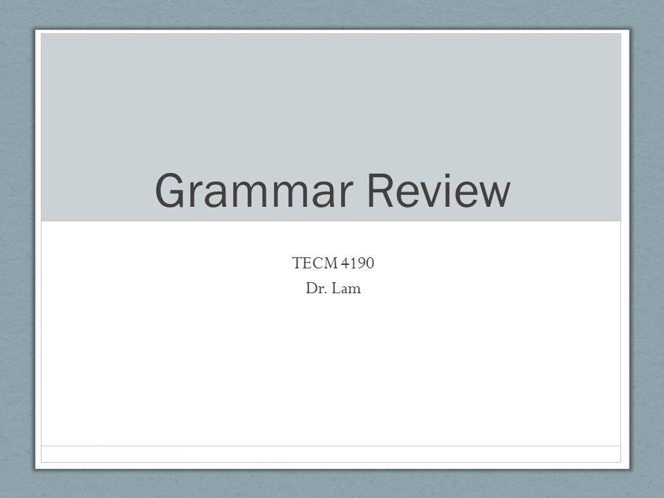 Grammar Review TECM 4190 Dr. Lam