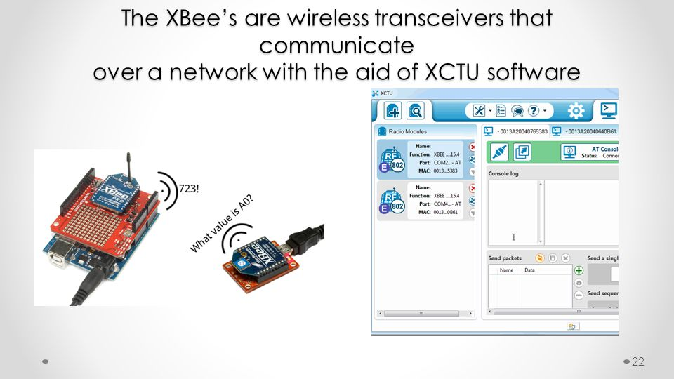 The XBee's are wireless transceivers that communicate over a network with the aid of XCTU software 22