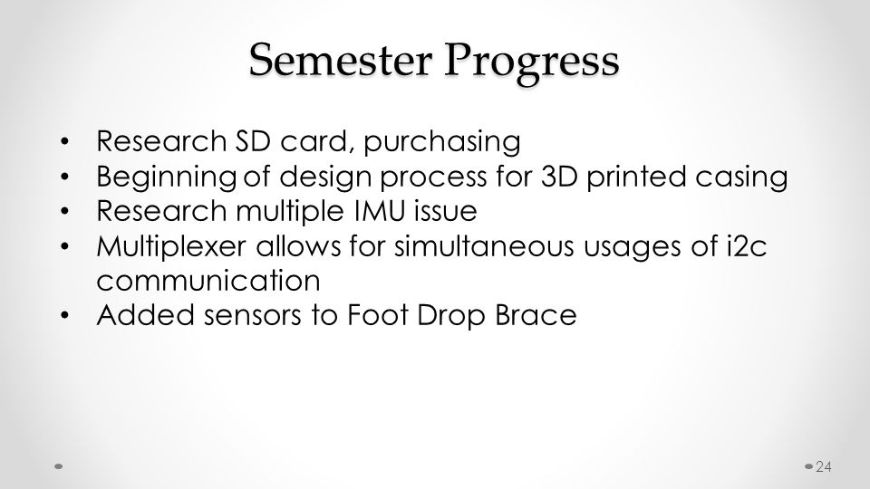 Semester Progress Research SD card, purchasing Beginning of design process for 3D printed casing Research multiple IMU issue Multiplexer allows for si