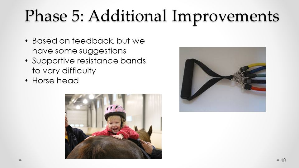 Phase 5: Additional Improvements Based on feedback, but we have some suggestions Supportive resistance bands to vary difficulty Horse head 40