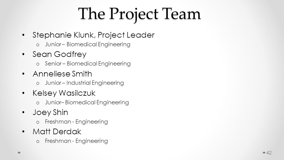 The Project Team Stephanie Klunk, Project Leader o Junior – Biomedical Engineering Sean Godfrey o Senior – Biomedical Engineering Anneliese Smith o Ju