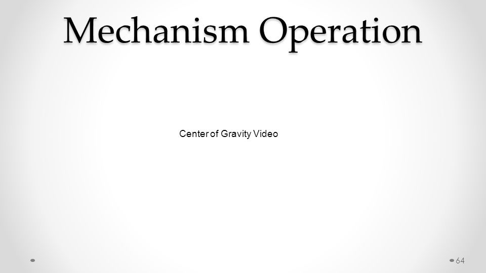 Mechanism Operation 64 Center of Gravity Video