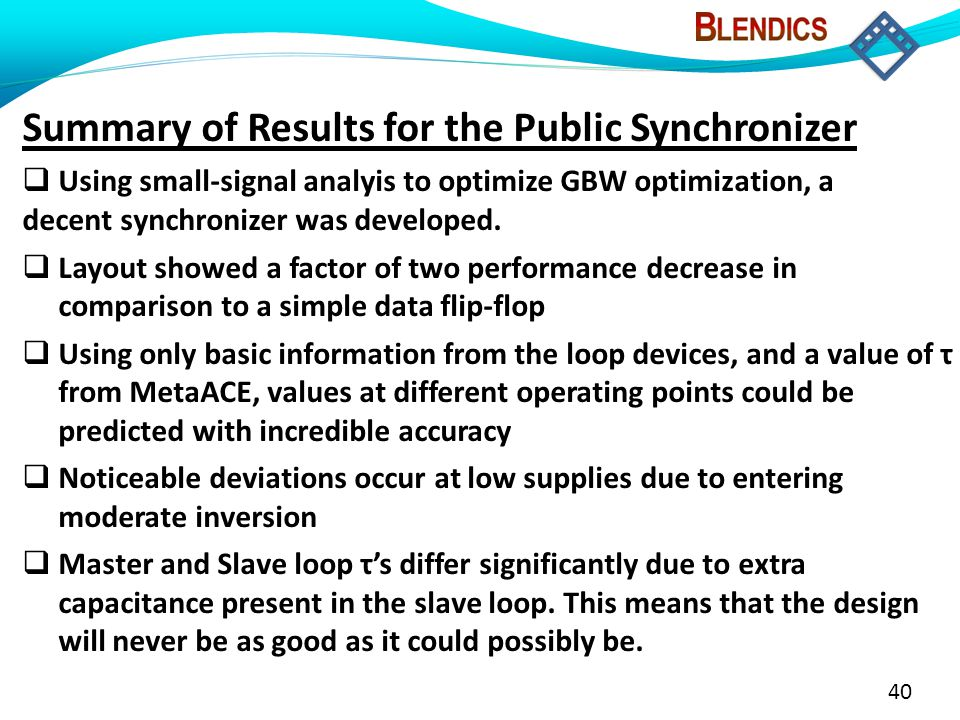 40 Summary of Results for the Public Synchronizer  Using small-signal analyis to optimize GBW optimization, a decent synchronizer was developed.