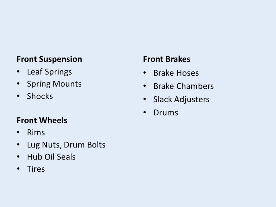 Front Suspension Leaf Springs Spring Mounts Shocks Front Wheels Rims Lug Nuts, Drum Bolts Hub Oil Seals Tires Front Brakes Brake Hoses Brake Chambers Slack Adjusters Drums