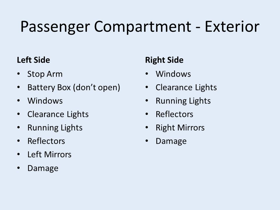 Passenger Compartment - Exterior Left Side Stop Arm Battery Box (don't open) Windows Clearance Lights Running Lights Reflectors Left Mirrors Damage Right Side Windows Clearance Lights Running Lights Reflectors Right Mirrors Damage