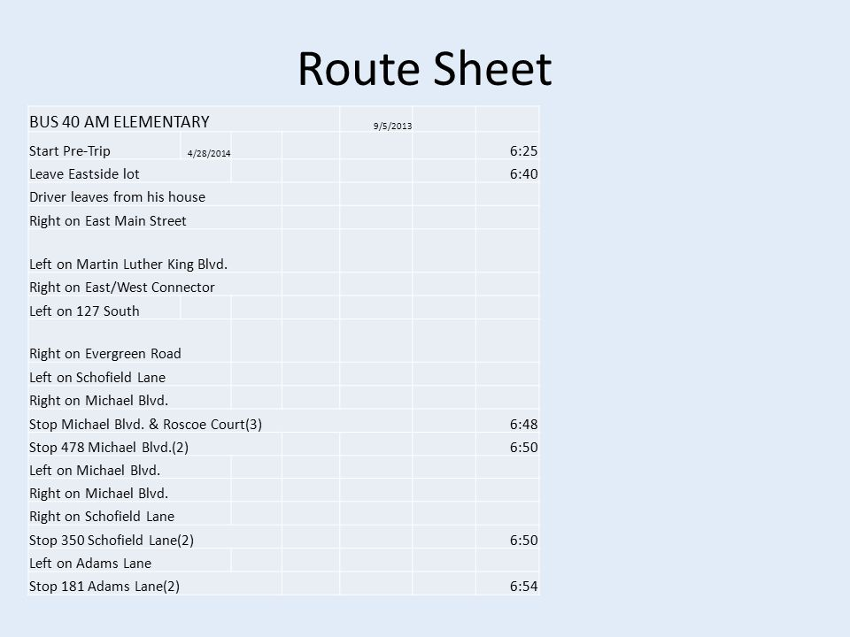 Route Sheet BUS 40 AM ELEMENTARY 9/5/2013 Start Pre-Trip 4/28/2014 6:25 Leave Eastside lot6:40 Driver leaves from his house Right on East Main Street Left on Martin Luther King Blvd.