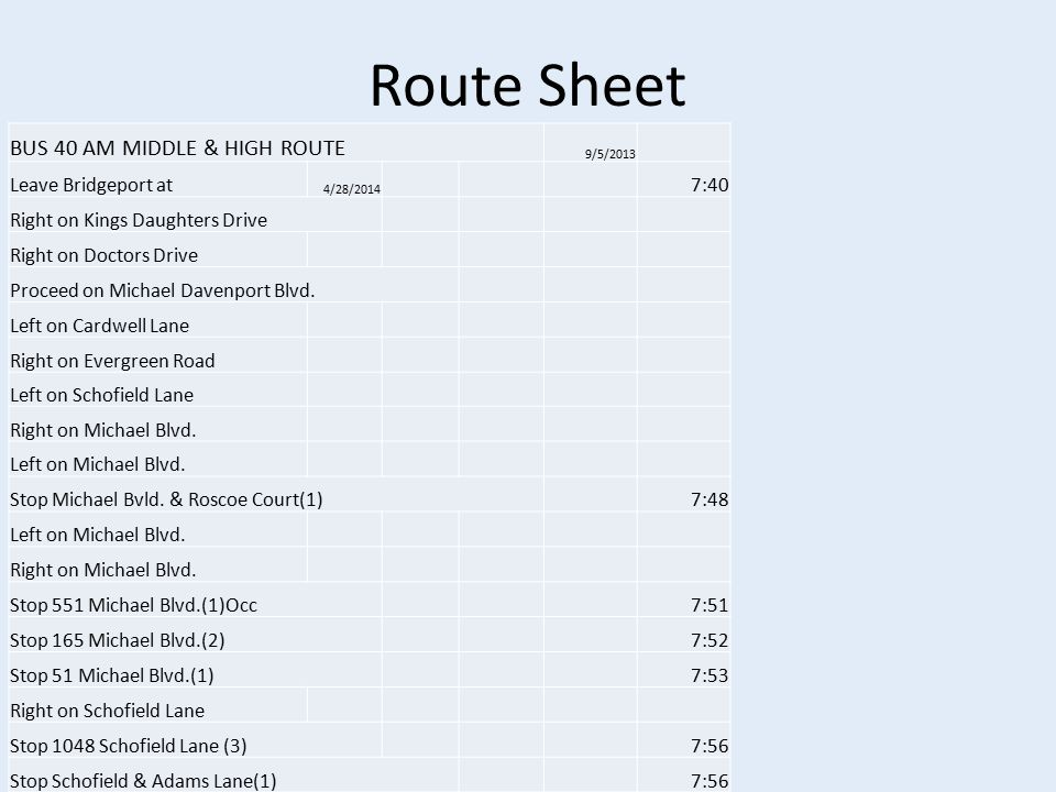 Route Sheet BUS 40 AM MIDDLE & HIGH ROUTE 9/5/2013 Leave Bridgeport at 4/28/2014 7:40 Right on Kings Daughters Drive Right on Doctors Drive Proceed on Michael Davenport Blvd.