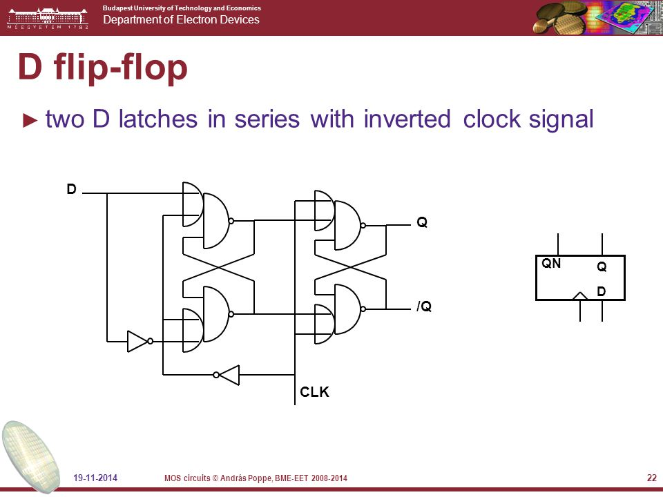Budapest University of Technology and Economics Department of Electron Devices 19-11-2014 MOS circuits © András Poppe, BME-EET 2008-2014 22 D flip-flop ► two D latches in series with inverted clock signal QDQD QN D CLK Q /Q