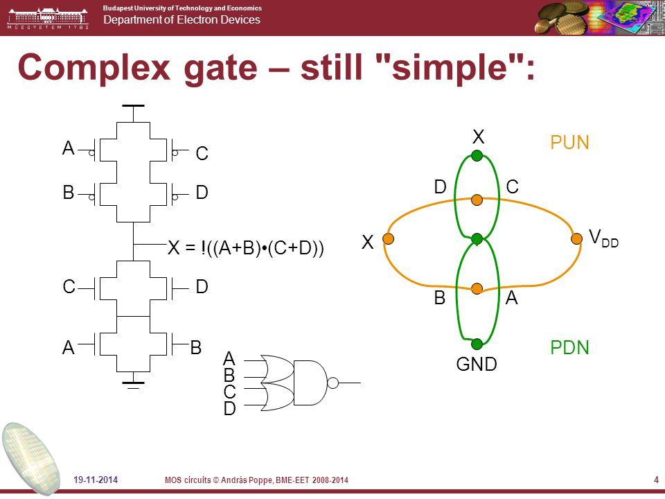 Budapest University of Technology and Economics Department of Electron Devices 19-11-2014 MOS circuits © András Poppe, BME-EET 2008-2014 4 Complex gate – still simple : C AB X = !((A+B)(C+D)) B A D V DD X X GND AB C PUN PDN C D D A B C D