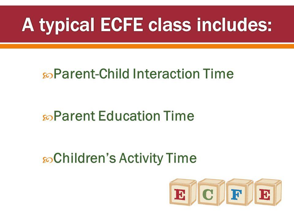  Parent-Child Interaction Time  Parent Education Time  Children's Activity Time