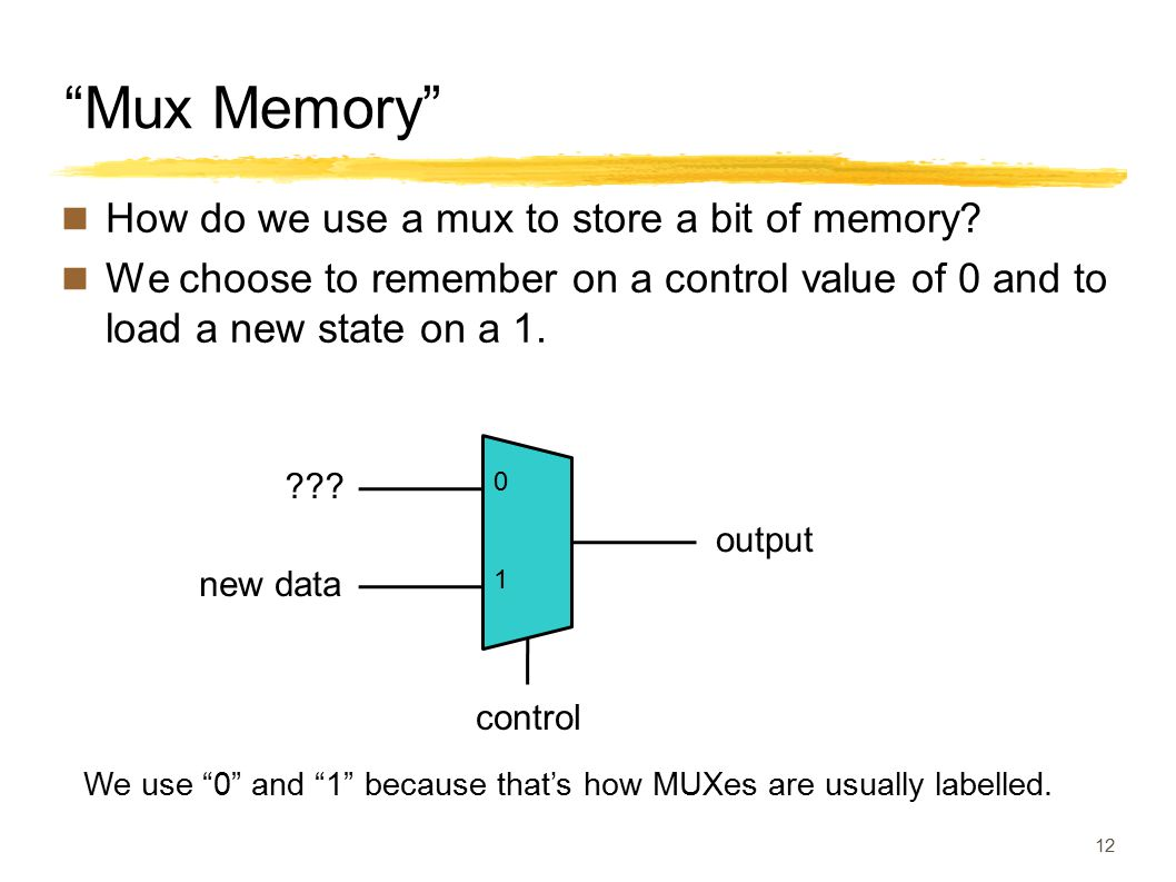 """Mux Memory"" How do we use a mux to store a bit of memory? We choose to remember on a control value of 0 and to load a new state on a 1. 12 We use ""0"""
