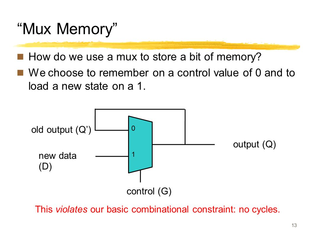 """Mux Memory"" How do we use a mux to store a bit of memory? We choose to remember on a control value of 0 and to load a new state on a 1. 13 This viola"
