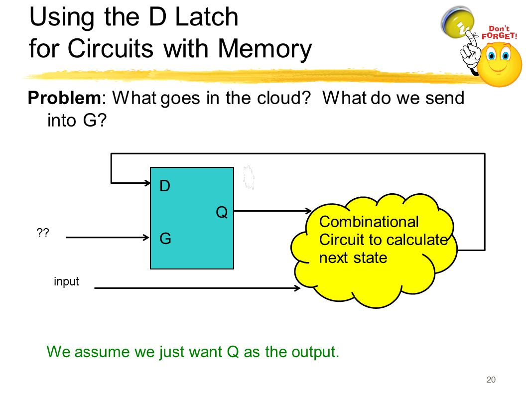 Using the D Latch for Circuits with Memory Problem: What goes in the cloud? What do we send into G? Combinational Circuit to calculate next state inpu