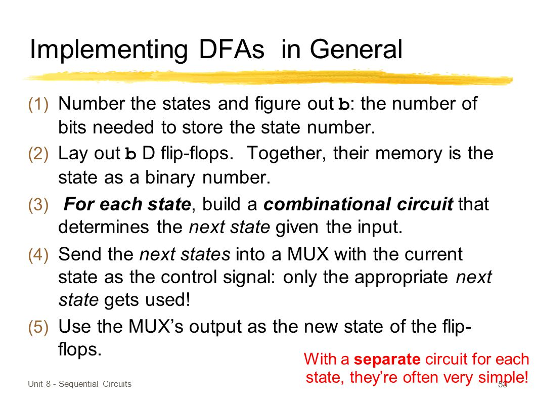 Implementing DFAs in General (1) Number the states and figure out b : the number of bits needed to store the state number. (2) Lay out b D flip-flops.