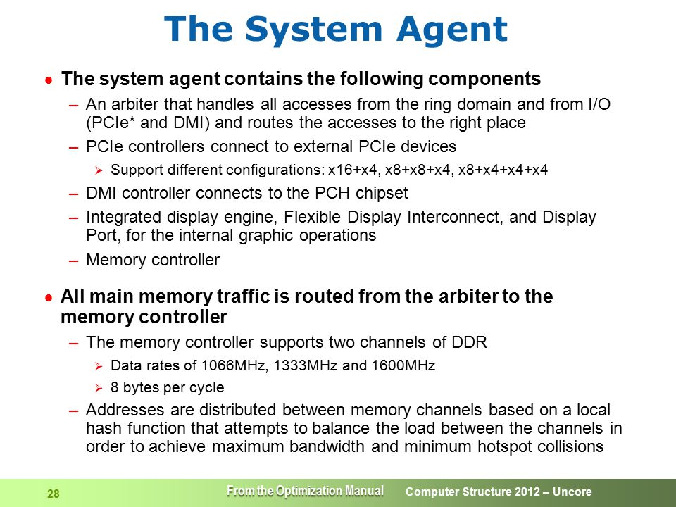 Computer Structure 2012 – Uncore 28 The System Agent  The system agent contains the following components –An arbiter that handles all accesses from t