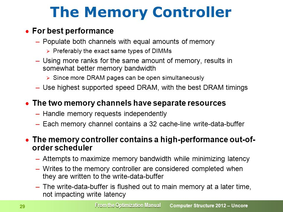 Computer Structure 2012 – Uncore 29 The Memory Controller  For best performance –Populate both channels with equal amounts of memory  Preferably the