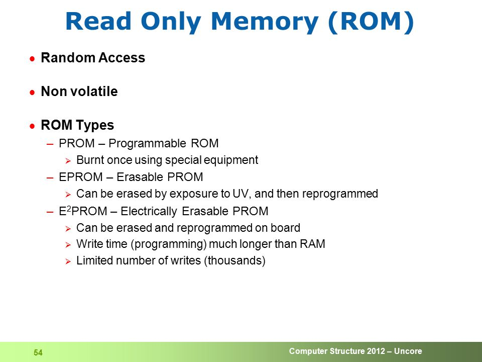 Computer Structure 2012 – Uncore 54 Read Only Memory (ROM)  Random Access  Non volatile  ROM Types –PROM – Programmable ROM  Burnt once using spec