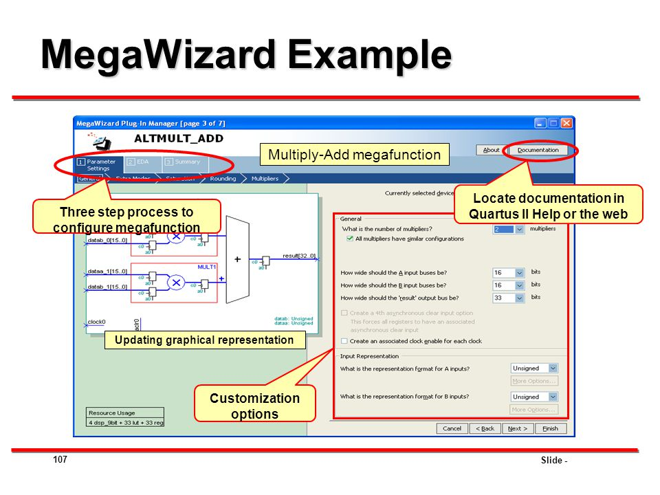 Slide - MegaWizard Example 107 Multiply-Add megafunction Updating graphical representation Customization options Locate documentation in Quartus II He