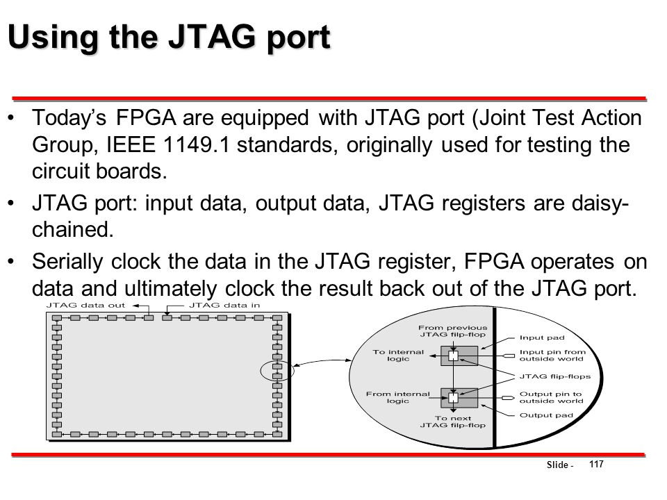 Slide - Using the JTAG port Today's FPGA are equipped with JTAG port (Joint Test Action Group, IEEE 1149.1 standards, originally used for testing the