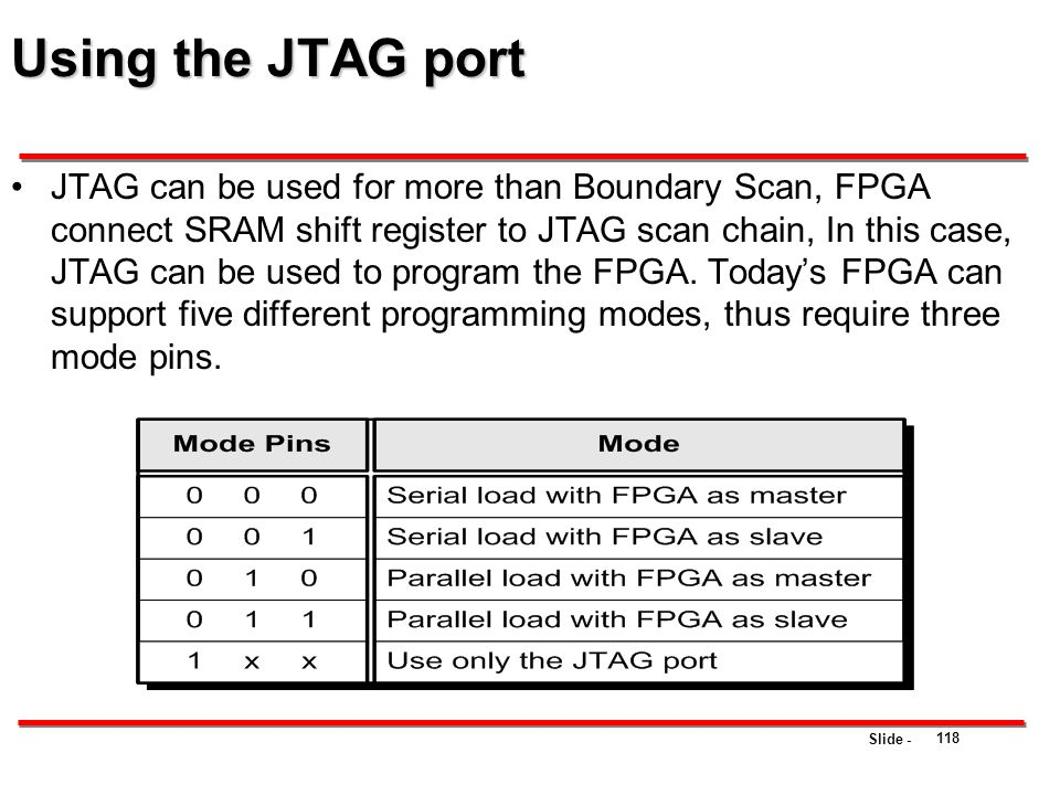 Slide - Using the JTAG port JTAG can be used for more than Boundary Scan, FPGA connect SRAM shift register to JTAG scan chain, In this case, JTAG can