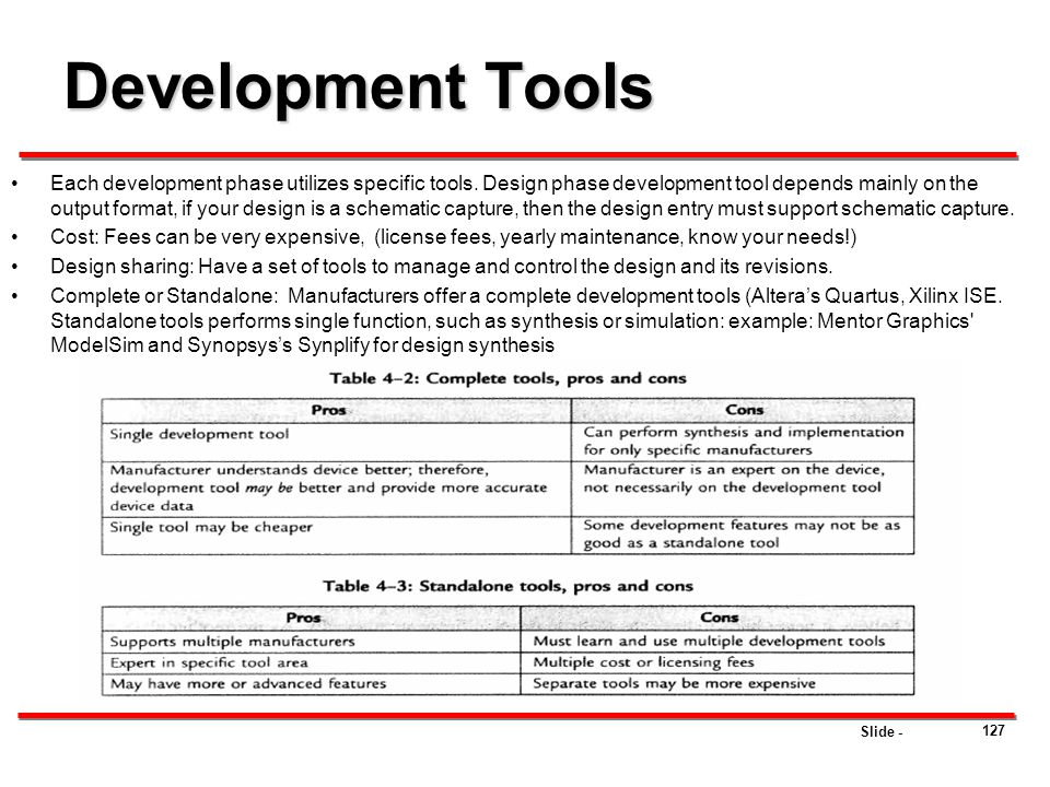 Slide - Development Tools Each development phase utilizes specific tools. Design phase development tool depends mainly on the output format, if your d