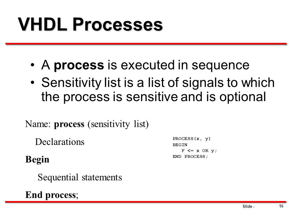 Slide - 16 VHDL Processes A process is executed in sequence Sensitivity list is a list of signals to which the process is sensitive and is optional Na