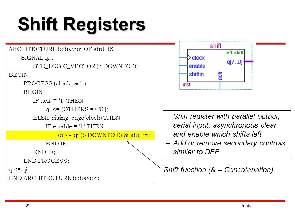 Slide - 191 Shift Registers ARCHITECTURE behavior OF shift IS SIGNAL qi : STD_LOGIC_VECTOR (7 DOWNTO 0); BEGIN PROCESS (clock, aclr) BEGIN IF aclr = '