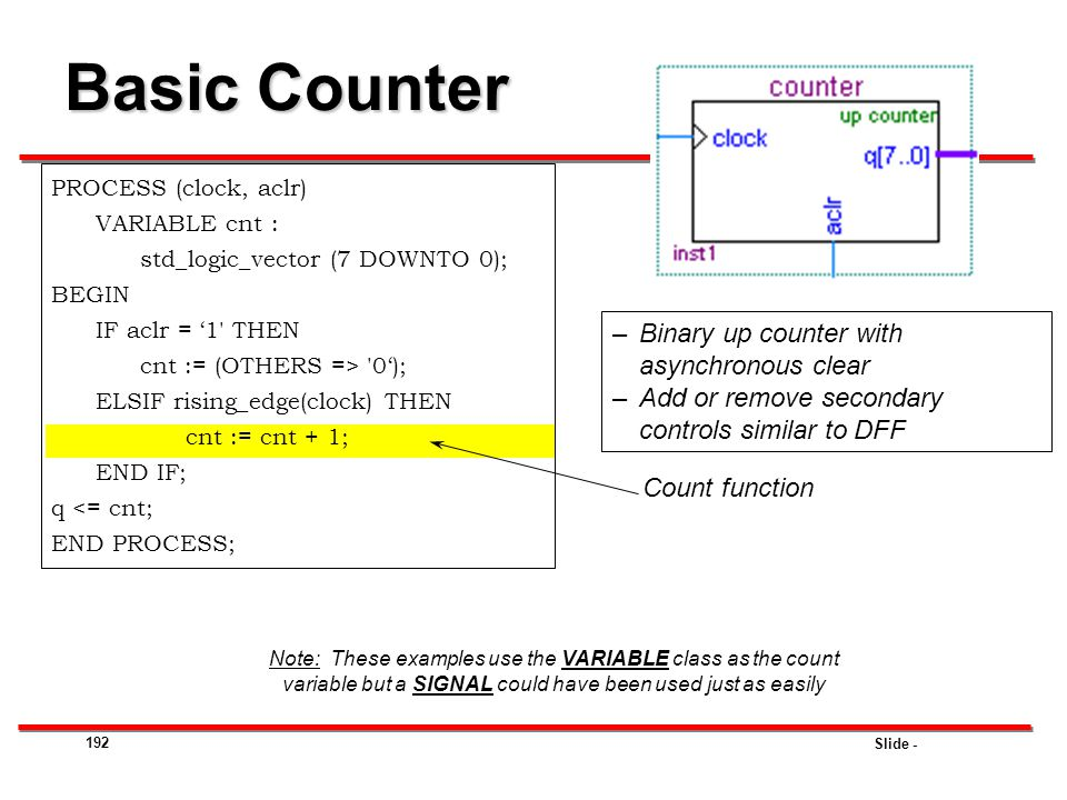 Slide - 192 Basic Counter PROCESS (clock, aclr) VARIABLE cnt : std_logic_vector (7 DOWNTO 0); BEGIN IF aclr = '1' THEN cnt := (OTHERS => '0'); ELSIF r