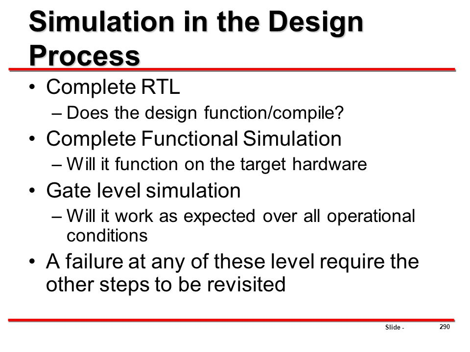 Slide - Simulation in the Design Process Complete RTL –Does the design function/compile? Complete Functional Simulation –Will it function on the targe