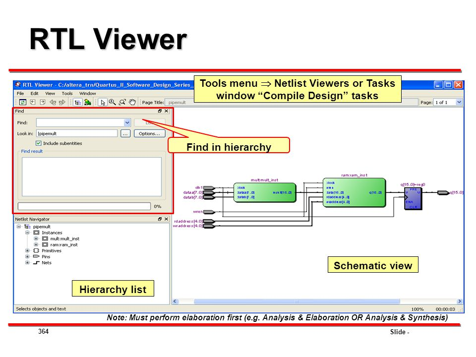Slide - RTL Viewer 364 Schematic view Hierarchy list Note: Must perform elaboration first (e.g. Analysis & Elaboration OR Analysis & Synthesis) Tools