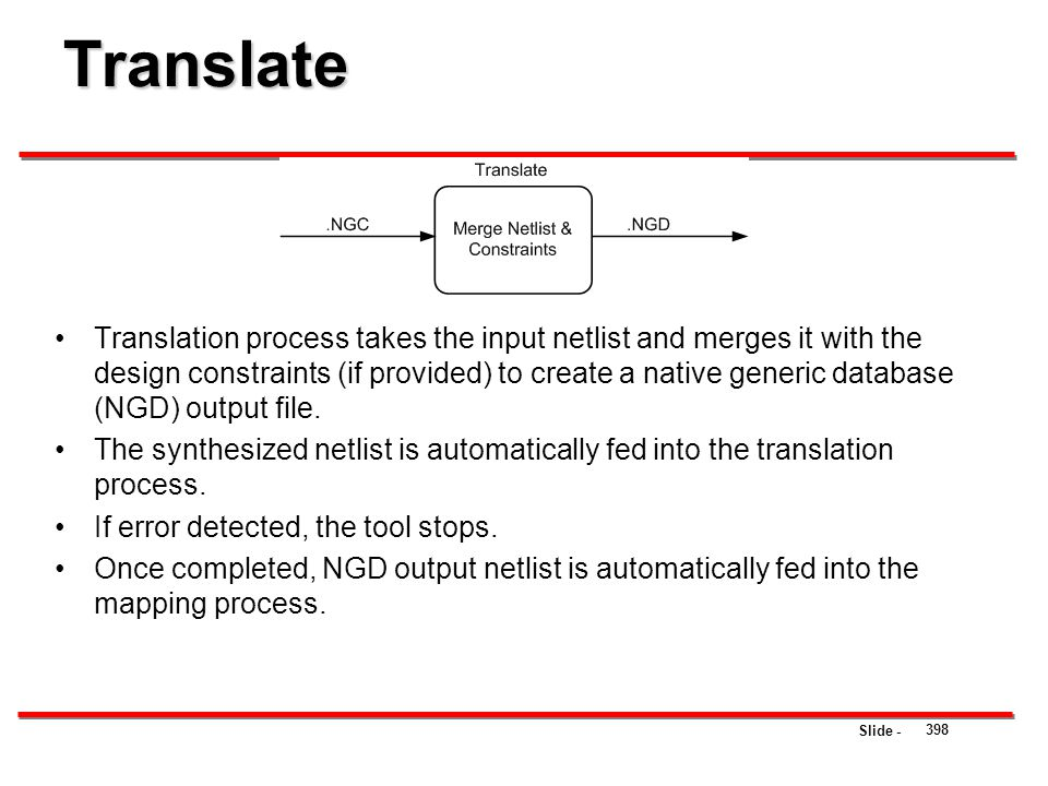 Slide - Translate 398 Translation process takes the input netlist and merges it with the design constraints (if provided) to create a native generic d