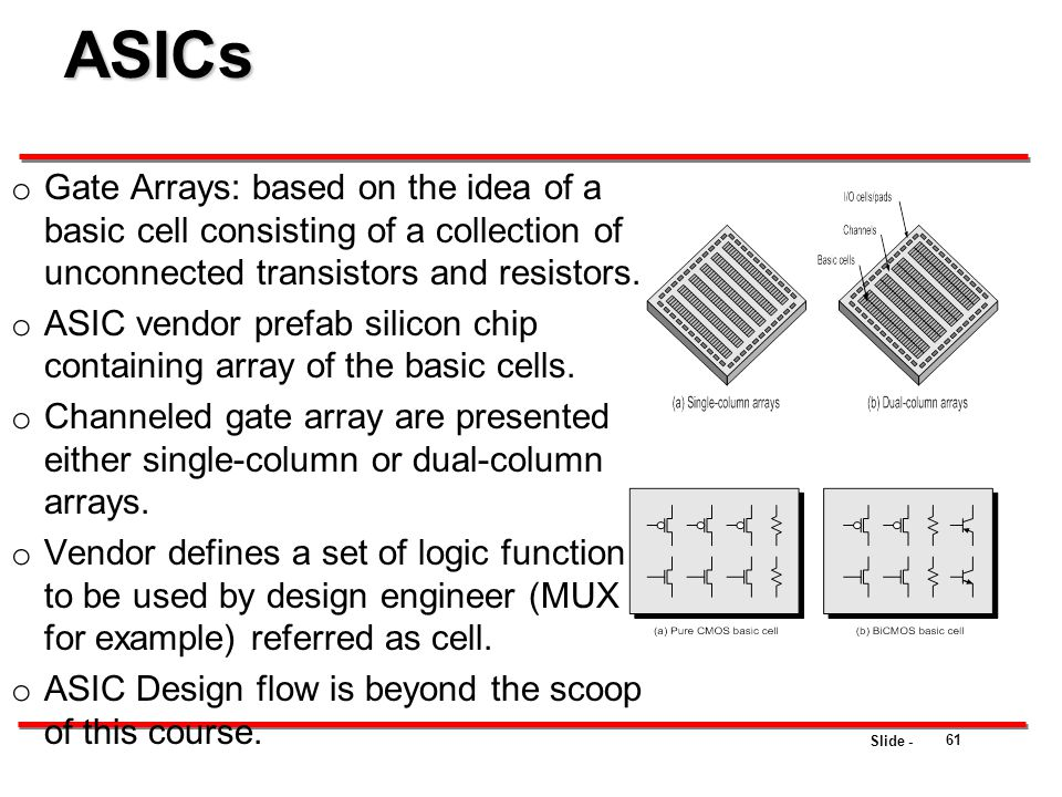 Slide - o Gate Arrays: based on the idea of a basic cell consisting of a collection of unconnected transistors and resistors. o ASIC vendor prefab sil