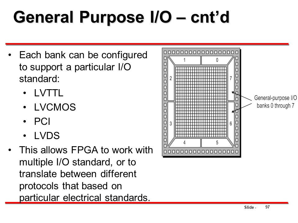Slide - 97 General Purpose I/O – cnt'd Each bank can be configured to support a particular I/O standard: LVTTL LVCMOS PCI LVDS This allows FPGA to wor