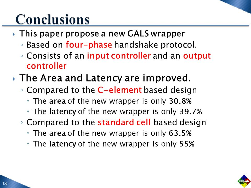 13  This paper propose a new GALS wrapper ◦ Based on four-phase handshake protocol.