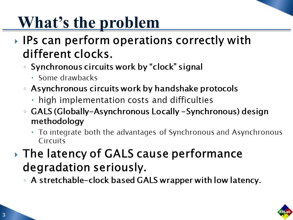 3 What's the problem  IPs can perform operations correctly with different clocks.