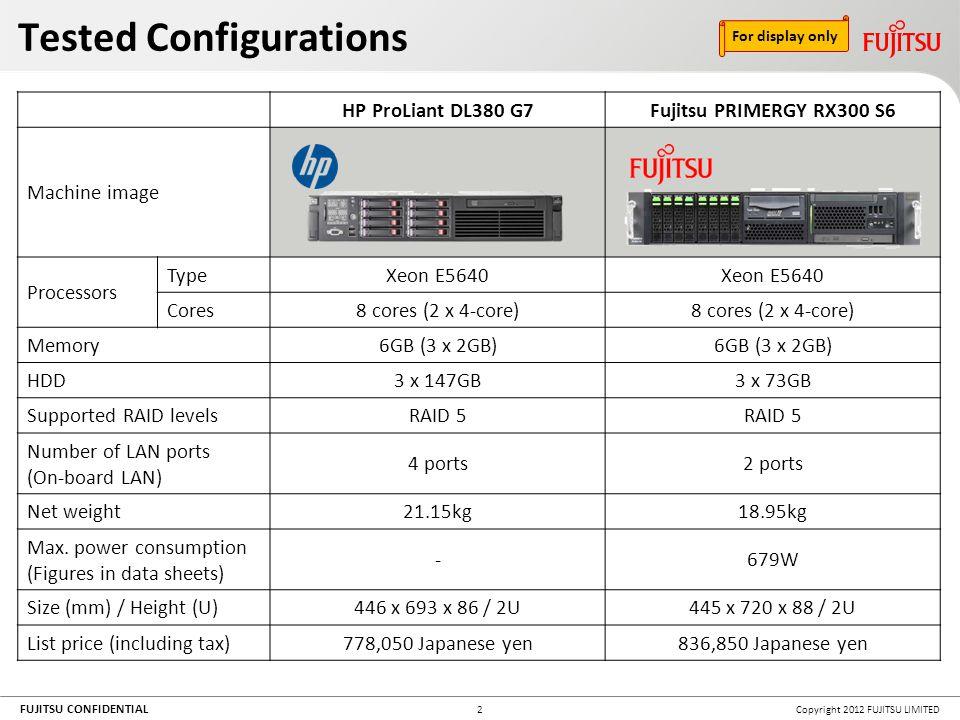 FUJITSU CONFIDENTIAL Copyright 2012 FUJITSU LIMITED13 Noise comparisons: Areas around server chassis measured in decibels (dBA).