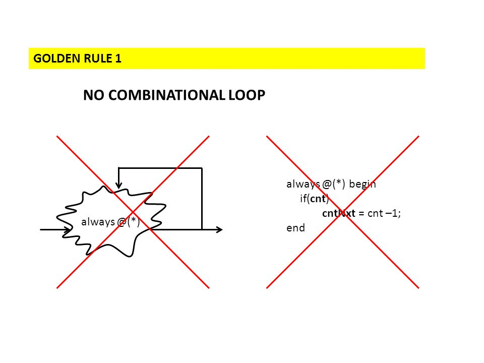 GOLDEN RULE 1 NO COMBINATIONAL LOOP always @(*) always @(*) begin if(cnt) cntNxt = cnt –1; end