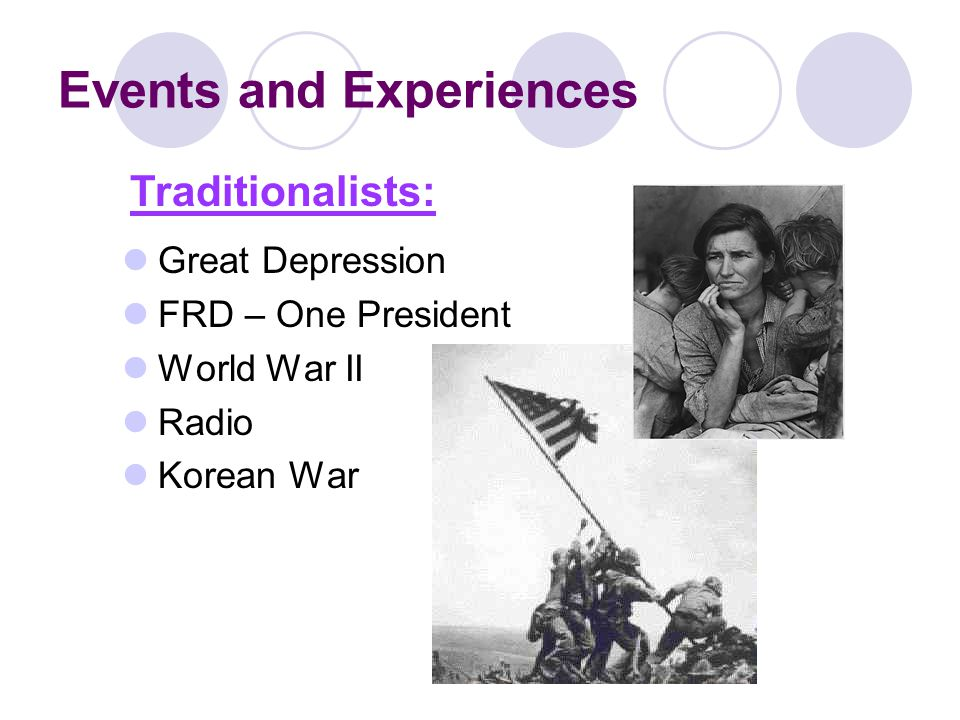 Events and Experiences Great Depression FRD – One President World War II Radio Korean War Traditionalists: