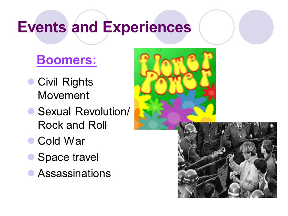 Events and Experiences Civil Rights Movement Sexual Revolution/ Rock and Roll Cold War Space travel Assassinations Boomers: