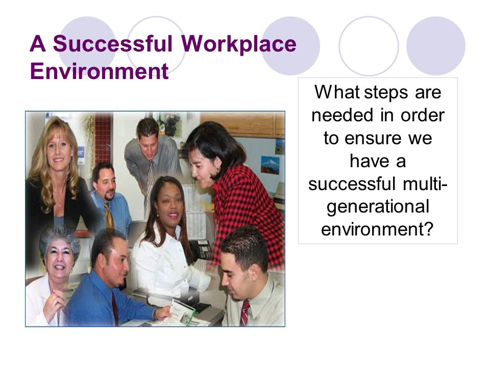 A Successful Workplace Environment What steps are needed in order to ensure we have a successful multi- generational environment
