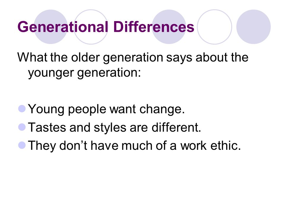Generational Differences What the younger generation says about the older generation: The older generation doesn't respect that things are different.